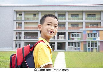 ir, escuela, feliz, asiático, niño