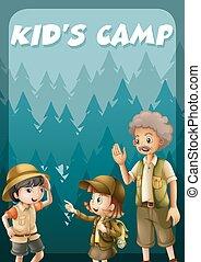 ir, floresta, acampamento, criança