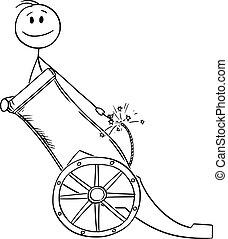 ir, hombre, concepto, vector, ilustración, feliz, o, hombre de negocios, empresa / negocio, éxito, bala de cañón, caricatura, listo, cañón, carrera