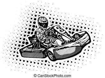 ir, ilustração, kart, corredor