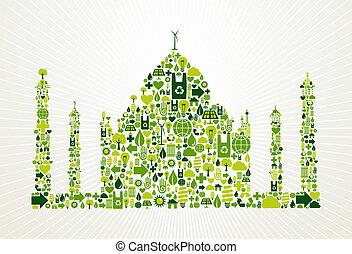 ir, india, concepto, verde, ilustración