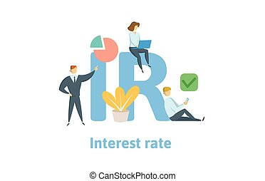 IR, Interest Rate. Concept with keywords, letters and icons. Flat vector illustration. Isolated on white background.