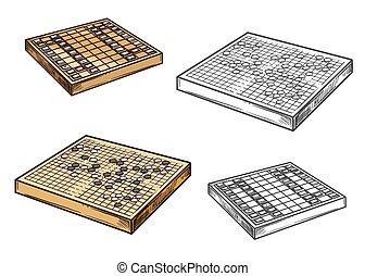 ir, jogos, japoneses, shogi, tábua