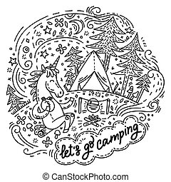 ir, lets, campamento, unicornio