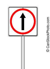 ir, maneira, à frente, sinal