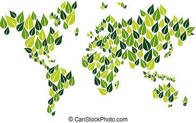 ir, mapa, folha, verde, mundo