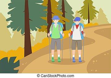 ir, montanhas, hiking, pessoas