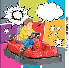 ir, niño, conducción, kart