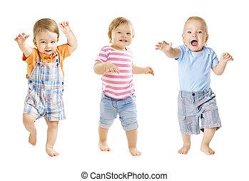 ir, niños, viejo, expresión, divertido, encima, aislado, uno, plano de fondo, bebes, año, bebé, blanco, juego, niños