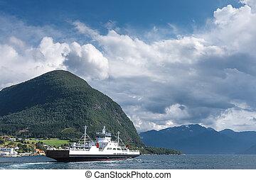 ir, noruego, fiordo, transbordador