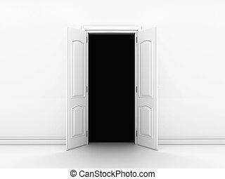 ir, puerta abierta, terrible