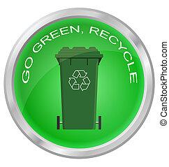 ir, recicle, botão, verde