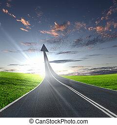 ir, rodovia, estrada, cima