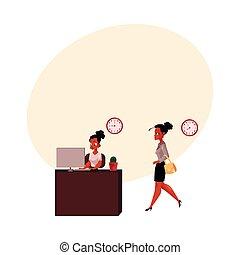 ir, trabalhando, executiva, escritório, computador, africano, lar, pretas