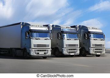 ir, tres, Camiones, carretera