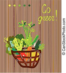 ir, vegetariano, experiência verde