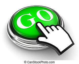 ir, verde, botón, y, indicador, mano