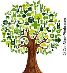 ir, verde, conceito, árvore, ícones