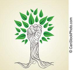 ir, verde, conceito, árvore, mão
