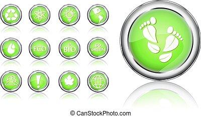 ir, verde, eco, icono, conjunto