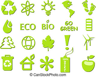 ir, verde, ecológico, icono, conjunto