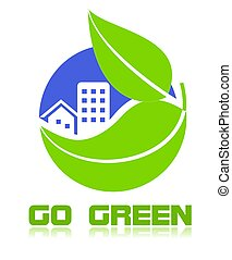 ir, verde, icono