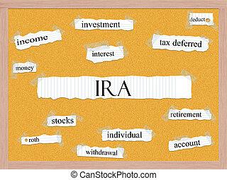 ira, corkboard, woord, concept