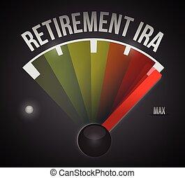 ira, pensioen, snelheidsmeter, illustratie