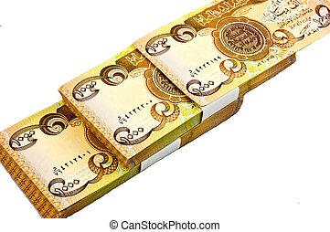 irak, dinar, valuta, diagonalt, sätta