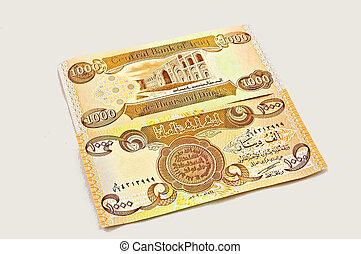 irak, dinar, valuta, främre del, och, baksida