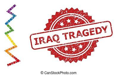 irak, grunge, tragédie, coloré, zigzag, timbre, clair, collage, ligne