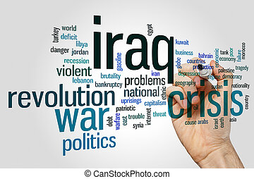 irak, krízis, szó, felhő