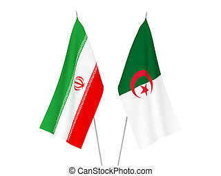 Iran and Algeria flags - National fabric flags of Iran and ...