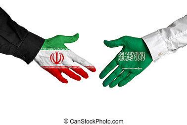 Iran and Saudi Arabia handshake