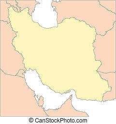 Iran and Surrounding Countries - Iran, editable vector map...