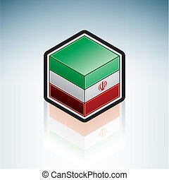 Flag of Islamic Republic of Iran (Asia) made as a cubic 3D Isometric Style Icon
