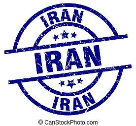 Iran blue round grunge stamp