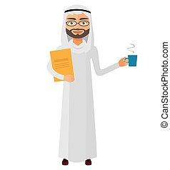 Iran businessman with a cup of tea and teapot vector flat cartoon illustration.