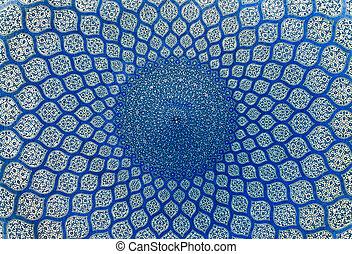 iran, cupola, isfahan, moschea, ornamenti, orientale