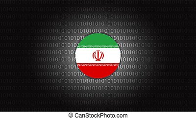 Iran cyber attacks design vector illustration background