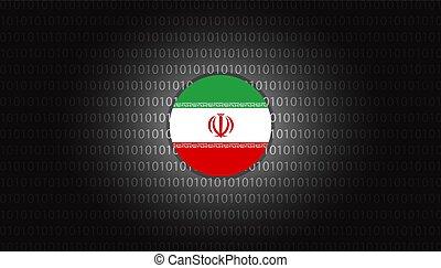 Iran cyber attacks design vector illustration background