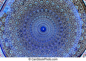 iran, dôme, isfahan, mosquée, ornements, oriental