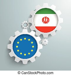 Iran EU Partnership Gears - White gears with EU and Iran...