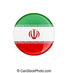 Iran flag button on white