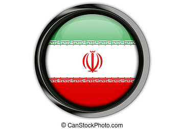 Iran flag in the button pin Isolated on White Background