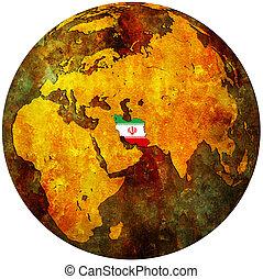 iran flag on globe map