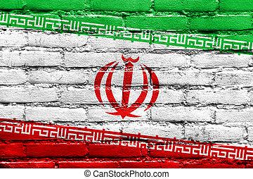 Iran Flag painted on brick wall
