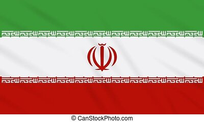Iran flag waving cloth background, loop