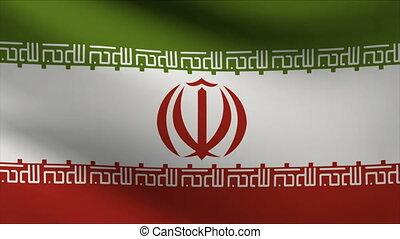 iran flag waving gently in wind