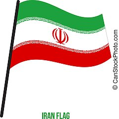 Iran Flag Waving Vector Illustration on White Background. Iran National Flag.